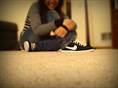 I love my kicks. (anjd13) Tags: white selfportrait black carpet shoes post sneakers nike sp match swoosh postmatch
