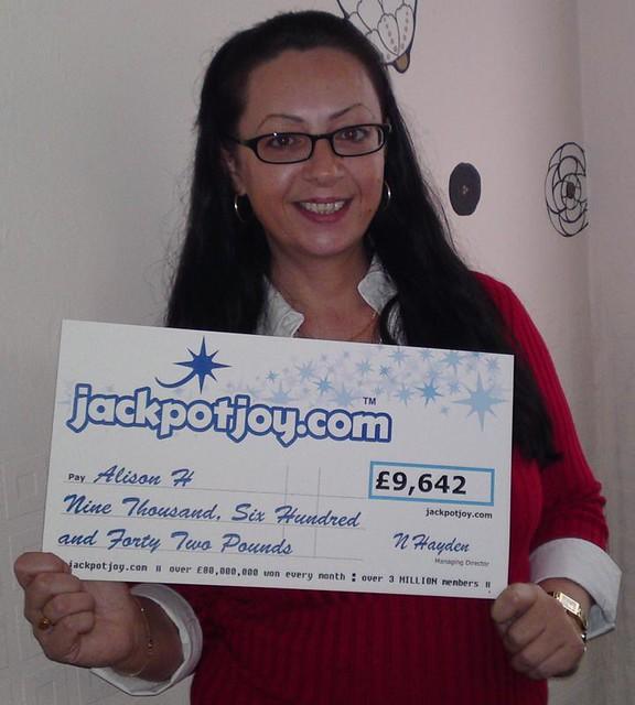 Alison H won 9642 by jackpotjoy