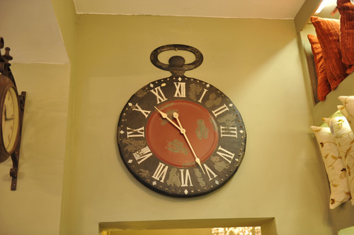 Black and Red Antiqued Large Pocket Watch Clock harlow