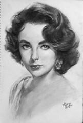 Elizabeth Taylor (jason-sh) Tags: china portrait bw celebrity art pencil sketch blackwhite gallery shanghai gorgeous entertainment actress    goodlooking skill     elizabethtaylor   drewing
