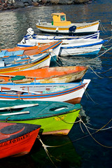 Rainbows of Boats (Michael Rugosi) Tags: color colour beautiful boats greek rainbow santorini greece
