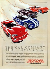 Dodge Viper & Copperhead and Plymouth Prowler, 1997 Ad (aldenjewell) Tags: ad plymouth dodge 1997 chrysler viper prowler copperhead rt10
