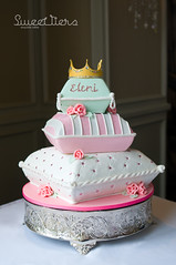 Princess Pillow Cake (Sweet Tiers) Tags: pink roses girl crystals princess chocolate quilting crown jewels tassels fondant 3tier pillowcake