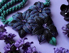 Moonlit Bloom (fivefootfury) Tags: flowers dark necklace jewelry moonlit midnight blooms beaded beadwork deepgreen beadedflowers fivefootfury