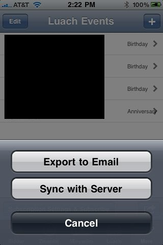 Email & Sync Luach Events - iPhone Siddur 4.3