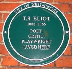 Photo of T. S. Eliot green plaque