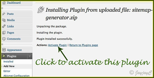 Screen shot to illustrate step taken to activate the DD Sitemap generator plugin