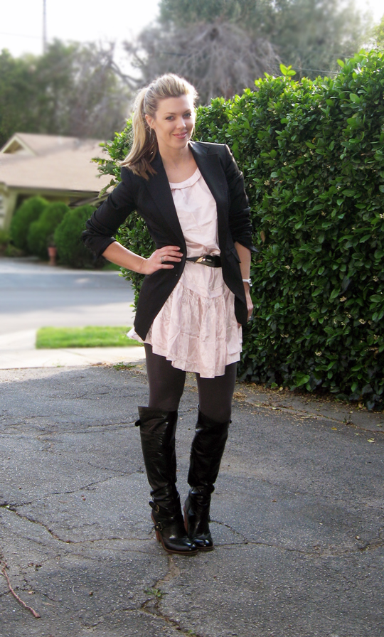 pink dress black blazer, ferragamo handbag, tom ford sunglasses, over the knee leather boots, Burberry wallet, clothes, shopping, what to wear, style, black leather buckle boots, pony tail, blonde hair, maegan, megan