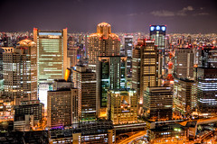 This is Osaka! (Shenanigans in Japan) Tags: city sky night canon buildings photography lights view time 5d osaka umeda markii earthasia