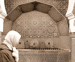 Fountain in sepia (fede_gen88) Tags: africa decorations bali woman fountain veil geometry muslim islam hijab morocco fez maroc medina fes arabesque fs imperialcity feselbali 15challengeswinner oldfes  imperialcities