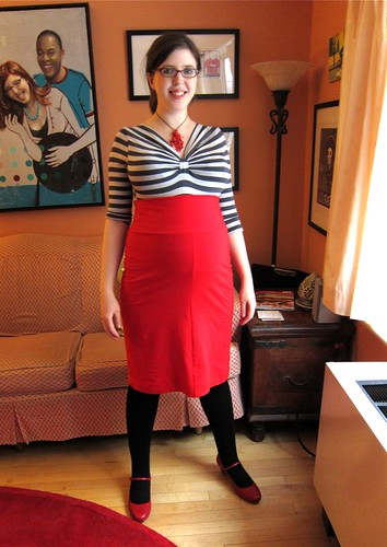 25 weeks pregnant red pencil skirt remix!