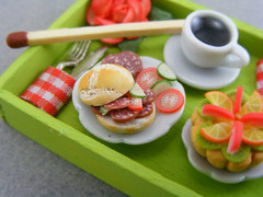Yummy Salami (Shay Aaron) Tags: wood pink red food orange house flower detail macro green apple scale kitchen coffee rose closeup breakfast miniature healthy doll zoom tea handmade aaron fake mini sandwich polymerclay fimo tiny brunch faux shay tray tart 12th 112 salami dollhouse petit lunchbreak breakfastinbed twelfth shayaaron