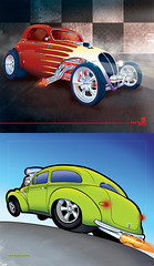 Fiat Topolino & 39 Chevy (howyadoin) Tags: art chevrolet car illustration analog digital sedan diptych fiat sale drawing flames chevy buy finished hotrod coupe 1939 supercharged dragrace topolino howyadoin