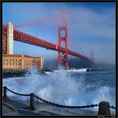 High Tide and Rough Seas (Tony Immoos) Tags: sanfrancisco california blue sky sunshine wow landscape surf wave landmark olympus seawall pa goldengatebridge goldengate marincounty fortpoint e3 splash ggb californialandscape happyhours zd sanfranciscocounty 1260mm olympuse3