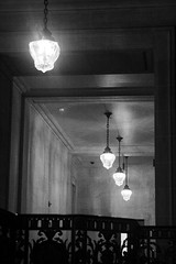 Hallway Lights (shaire productions) Tags: lighting light bw building lights blackwhite interior monotone hallway grayscale greyscale
