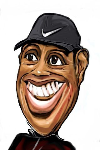 Tiger Woods caricature refined with iPhone app