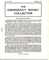 Emergency Money Collectors Spring 1949 Cover
