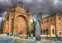 Covent of Saint Esteban  Convento de San Esteban, Salamanca (Spain), HDR (marcp_dmoz) Tags: espaa church saint statue architecture clouds photoshop spain nikon catho