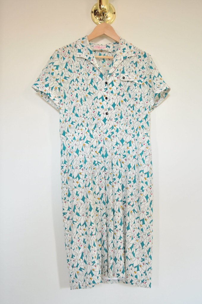 vintage teal floral day dress