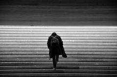 Go no where B&W (AlexJ (aalj26)) Tags: bw white black paris france luz branco arquitetura student pessoa frança pb preto jorge e escada alexander sombras passagem pearson mochila estudante alexj nikond90bw aalj26 alexanderaljorge