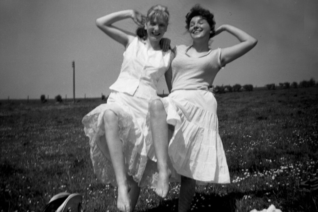 Marilyn Ross and pal Lorraine, 1950s.