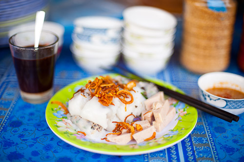 A dish of banh cuon, freshly-steamed noodle filled with pork, Vientiane