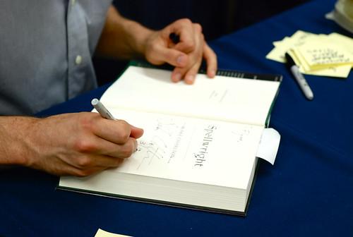 Blake signing books