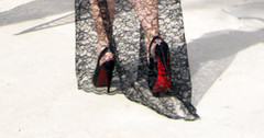 red soles louboutin heels stilettos long lace ...