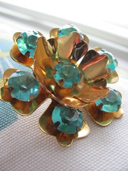 Vintage flower brooch with large turquoise blue rhinestones (MySoCalledVintage) Tags: flowers blue ladies flower floral fashion metal vintage gold costume mod aqua chocolate metallic teal brooch jewelry womens retro 1950s faux accessories etsy 1970s rhinestone rhinestones pendant midcentury mysocalledvintage