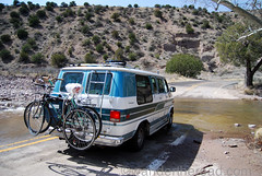 Raging River Crossing (auzzki) Tags: travel camping expedition fun honeymoon exploring wanderlust adventure chevy justmarried campervan overland vanconversion g20van honeymoonadventure