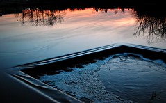 Headwaters (SkySnapper) Tags: reflection art water evening pond nikon colorful moody artistic dusk michigan creative annarbor tranquility picnik goldenhour mallettscreek d3000