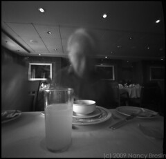 7-25-09 Lunch on the QM2 (squaremeals) Tags: 120 mediumformat lunch tmax pinhole qm2 zero2000 queenmary2 zeroimage squaremeals britanniarestaurant