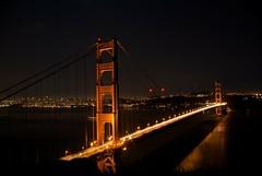 Golden Gate Bridge Lights (zyrcster) Tags: sanfrancisco night timeexposure goldengatebridge marinheadlands earthhour2010