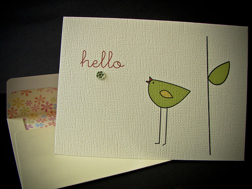 88/365: HELLO Card (Tall Bird)