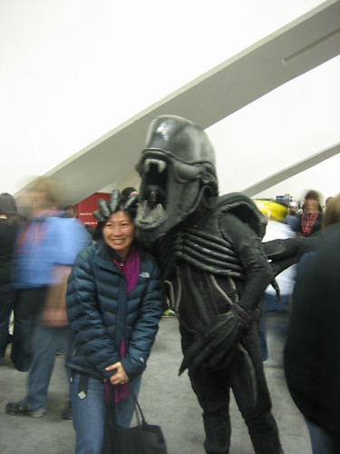 alien and random woman