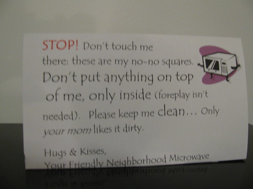 STOP! Don't touch me there: these are my no-no squares. Don't put anything on top of me, only inside (foreplay isn't needed). Please keep me clean...Only your mom likes it dirty. Hugs & Kisses, Your Friendly Neighborhood Microwave
