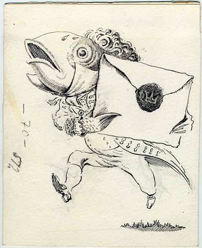 Complete illustration of the Fish Footman from Alice in Wonderland, 1945,Peake Estate