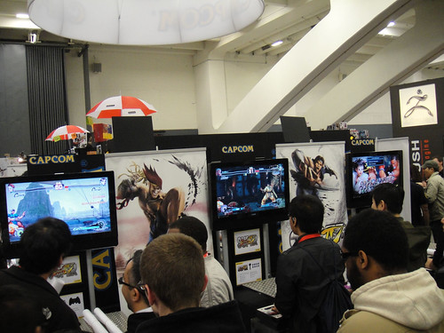Capcom booth featuring Street Fighter IV