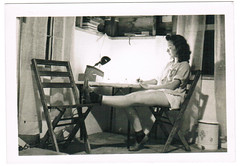 """ginnie's """"office"""" (stacy anne longenecker) Tags: old woman lamp girl vintage photo office chairs desk picture scan retro photograph shorts relaxed"""