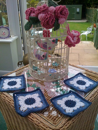 Blue and White Squares arrive today from Marg in Australia. Thank you, so pretty!