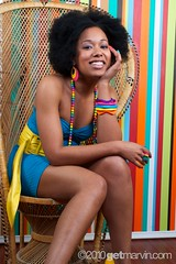 Shea Soul (Get Marvin) Tags: blue woman black girl beauty smile fashion female chair dress african feminine afro soul wicker shea ebony 5star sheasoul getmarvin getmarvincom