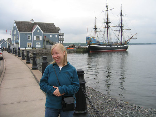 Amber in front of the Hector Heritage Quay