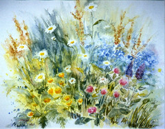 Art: Watercolour...'le printemps reviendra' (Nadia Minic) Tags: flowers nature fleurs interestingness spring gallery aquarelle natur meadow wiese blumen galerie watercolour colourful luxembourg printemps farbig frhling color blumenwiese lenningen feldblumen nadiaminic fleurschamptres