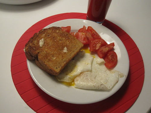Eggs, toasts, tomato, vegetable cocktail
