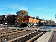 Westbound BNSF Railway unit coal train.  Riverside Illinois. October 2006.