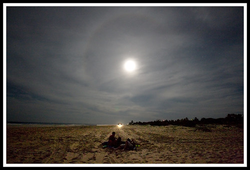lunar halo on the beach