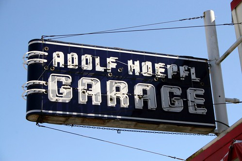 adolf hoepfl  garage neon sign