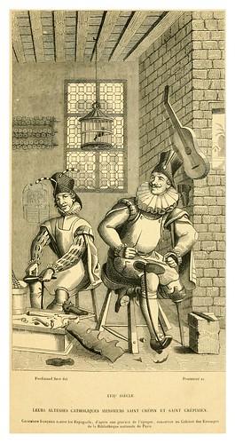 016-San Crépin y San Crépinien grabado satirico siglo XVII-Histoire de la chaussure depuis l'antiquité-1862- Paul Lacroix y Alphonse Duchesne