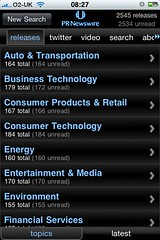 PR Newswire iPhone app: releases / by topics