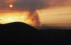 The golden sunset over Kilauea caldera (WorldofArun) Tags: mountain history nature fauna wonder landscape vent volcano hawaii lava nationalpark flora nikon native diversity evolution submarine steam unesco worldheritagesite crack research crater caldera depression planet summit hi bigisland geology thurston rim hawaiivolcanoesnationalpark botany biology sulfurdioxide cauldron explode eruption mantle kilauea magma halemaumau biodiversity belowthesurface holocene fragments cater talus gases lavaflow pyroclastic lavatubes 18200mm highway11 so2 kilaueacaldera moltenrock biogeography nikond40x superheated yenumula worldofarun thomasjaggarmuseum hawaiibeltroad craterrimdr volcanicdepression arunyenumula